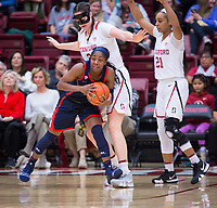 STANFORD, CA - February 22, 2019: Shannon Coffee, DiJonai Carrington at Maples Pavilion. The Stanford Cardinal defeated the Arizona Wildcats 56-54.
