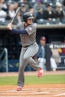 Lehigh Valley IronPigs designated hitter Cameron Perkins (27) at bat against the Toledo Mud Hens during the International League baseball game on April 30, 2017 at Fifth Third Field in Toledo, Ohio. Toledo defeated Lehigh Valley 6-4. (Andrew Woolley/Four Seam Images)