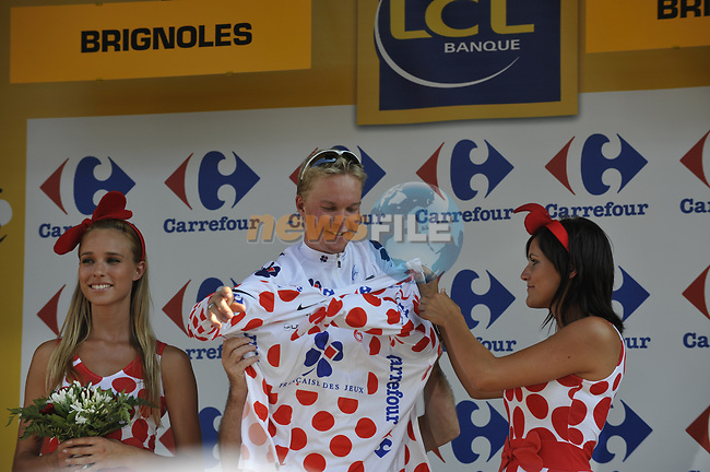 Jussi Veikkanen FDJ wears the Polka Dot Jersey on the podium at the end of Stage 2 of the Tour de France 2009 running 187km from Monaco to Brignoles, France. 5th July 2009 (Photo by Eoin Clarke/NEWSFILE)