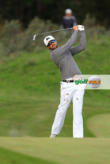 Rikard Karlberg (SWE) on the 1st fairway during Round 4 of the 2015 KLM Open at the Kennemer Golf &amp; Country Club in The Netherlands on 13/09/15.<br /> Picture: Thos Caffrey | Golffile