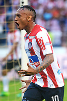 BARRANQUILLA -COLOMBIA ,30-07-2017.  Jarlam Barrera jugador del  Atlético Junior celebra su gol contra  el Atlético Nacional  durante encuentro  por la fecha 5 de la Liga Aguila II 2017 disputado en el estadio Metropolitano Roberto Meléndez de Barranquilla/ Jarlam Barrera palyer of Atletico Junior celebraes his goal against of  Atletico Nacional during match for the date 5 of the Aguila League II 2017 played at Metropolitano Roberto Melendez in Barranquilla . Photo:VizzorImage / Alfonso Cervantes  / Cont