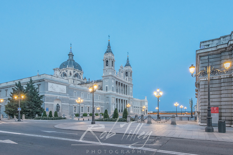 Spain, Madrid, Almudena Cathedral at Dawn