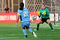 Piscataway, NJ - Sunday September 10, 2017: Samantha Kerr, DiDi Haracic during a regular season National Women's Soccer League (NWSL) match between Sky Blue FC and the Washington Spirit at Yurcak Field.