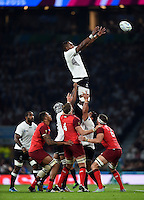 Leone Nakarawa of Fiji rises high to win lineout ball. Rugby World Cup Pool A match between England and Fiji on September 18, 2015 at Twickenham Stadium in London, England. Photo by: Patrick Khachfe / Onside Images