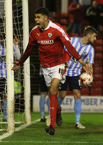 01.03.2016. Oakwell Stadium, Barnsley, England. Skybet League One. Barnsleys Ashley Fletcher celebrates his goal