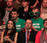 two Ronnie O'Sullivan fans routing for him to become president during the Dafabet Masters FINAL between Barry Hawkins and Ronnie O'Sullivan at Alexandra Palace, London, England on 17 January 2016. Photo by Liam Smith / PRiME Media Images