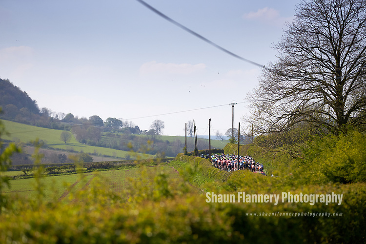 Picture by Shaun Flannery/SWpix.com - 05/05/2018 - Cycling - 2018 Tour de Yorkshire - Stage 3: Richmond to Scarborough - Yorkshire, England<br /> <br /> The peloton makes it's way to Cote de Shipho