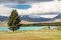 Lake Tekapo with its turquoise waters and church, Mackenzie Country, South Island, New Zealand