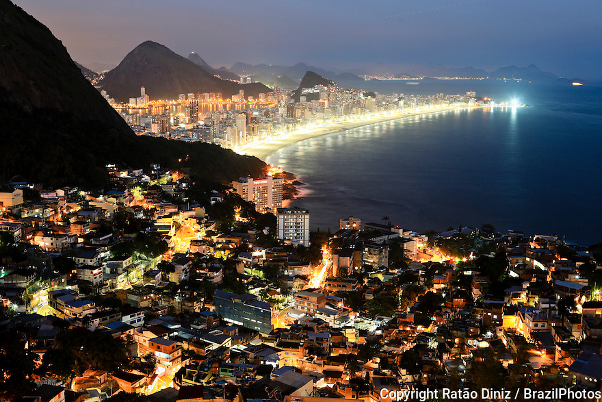 Night view from Mirante do Arvrão ( Big Tree Belvedere ), at top of Favela do Vidigal with Leblon and Ipanema beaches in background, the area has one of the most valued square meters of the city because of the nice view. Since 2012 it has a Pacifying Police Unit ( Unidade de Polícia Pacificadora, also translated as Police Pacification Unit ), abbreviated UPP, a law enforcement and social services program which aims at reclaiming territories, more commonly favelas, controlled by gangs of drug dealers.