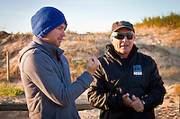 Adrina Buchan (AUS) and contest Director Rod Brooks  (AUS) discuss whether to run or not.  Les Bourdaines, Hossegor/France (Wednesday, September 29, 2010) .Matt Banting wins King of the Groms!.The winner of the King of the Groms 2010 was Matt Banting (AUS) today. The two finalists battled out the final, pulling off some awesome360 air reverses in the 3-4 foot clean waves that came through at Les Bourdaines. With good scores coming through from both surfers, it was Matt Banting who impressed the judges the most with some great combinations and managing to take more waves than Brazil's Filipe Toledo.. Photo: joliphotos.com