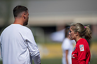 Sanford, FL - Saturday Oct. 14, 2017:  A Courage goalkeeper is given instructions by her coach during a US Soccer Girls' Development Academy match between Orlando Pride and NC Courage at Seminole Soccer Complex. The Courage defeated the Pride 3-1.