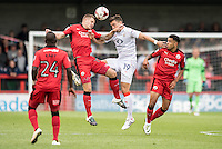 James Collins of Crawley Town (19) and Oliver Lee of Luton Town (19) challenge for the ball  during the Sky Bet League 2 match between Crawley Town and Luton Town at the Broadfield/Checkatrade.com Stadium, Crawley, England on 17 September 2016. Photo by Edward Thomas / PRiME Media Images.
