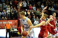 GRONINGEN - Basketbal, Donar - Feyenoord, Dutch Basketbal league, seizoen 2018-2019, 28-10-2018, Donar speler Thomas Koenes met Feyenoord speler Ties Theeuwkens