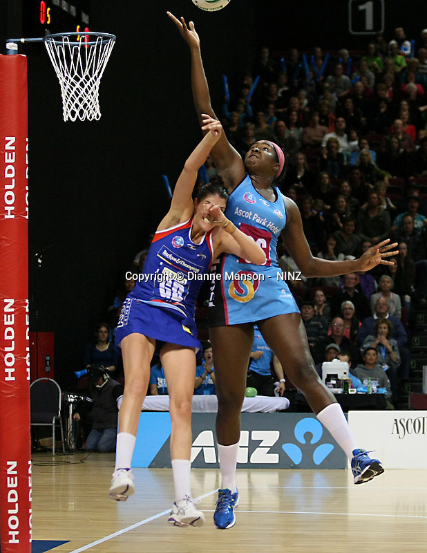 Mystics Anna Harrison and Steels Jhaniele Fowler-Reid compete for the ball in the ANZ championship netball match, Steel v Mystics, ILT Stadium Southland, Invercargill, New Zealand, Sunday, April 6, 2014. Photo: Dianne Manson
