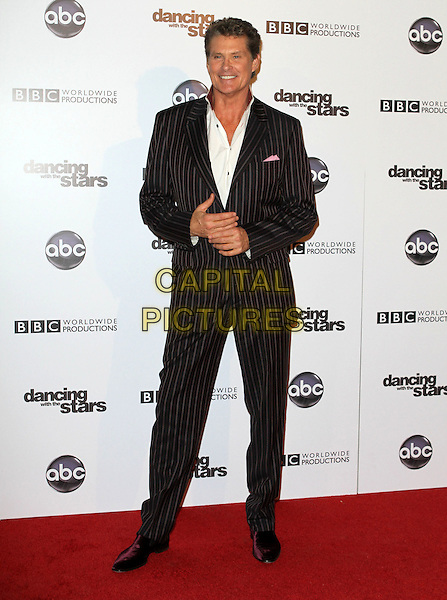 DAVID HASSELHOFF  .'Dancing With The Stars' 200th Episode held at Boulevard 3, Hollywood, CA, USA..November 1st, 2010.full length black suit pinstripe white shirt.CAP/ADM/FS.©Faye Sadou/AdMedia/Capital Pictures.