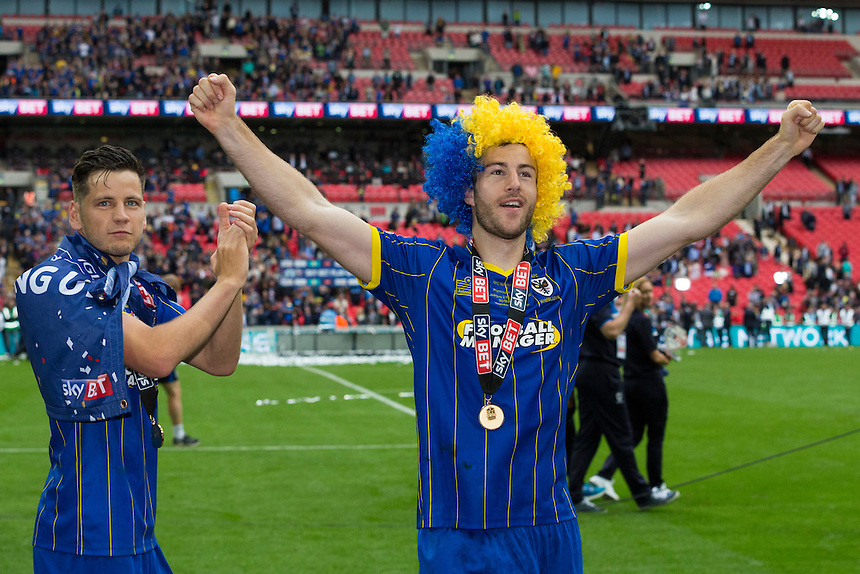 AFC Wimbledon's Andy Barcham (left) and Connor Smith (right) celebrate on the victory lap<br /> <br /> Photographer Craig Mercer/CameraSport<br /> <br /> Football - The Football League Sky Bet League Two Play-Off Final - AFC Wimbledon v Plymouth Argyle - Monday 30 May 2016 - Wembley Stadium - London<br /> <br /> World Copyright &copy; 2016 CameraSport. All rights reserved. 43 Linden Ave. Countesthorpe. Leicester. England. LE8 5PG - Tel: +44 (0) 116 277 4147 - admin@camerasport.com - www.camerasport.com
