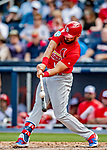 26 February 2019: St. Louis Cardinals infielder Matt Carpenter connects during a Spring Training game against the Washington Nationals at the Ballpark of the Palm Beaches in West Palm Beach, Florida. The Cardinals defeated the Nationals 6-1 in Grapefruit League play. Mandatory Credit: Ed Wolfstein Photo *** RAW (NEF) Image File Available ***