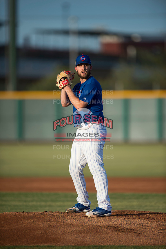 AZL Cubs 1 starting pitcher Corey Black (43) gets ready to deliver a pitch during a rehab assignment in an Arizona League game against the AZL Padres 1 at Sloan Park on July 5, 2018 in Mesa, Arizona. The AZL Cubs 1 defeated the AZL Padres 1 3-1. (Zachary Lucy/Four Seam Images)