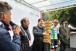 The Prime Minister Giuseppe Conte paid a visit to the Corsa Rosa today, holding the Trofeo Senza Fine, with Italian Champion Elia Viviani (ITA) Deceuninck-Quick Step at sign on before Stage 5 of the 2019 Giro d'Italia, running 140km from Frascati to Terracina, Italy. 15th May 2019<br /> Picture: Massimo Paolone/LaPresse | Cyclefile<br /> <br /> All photos usage must carry mandatory copyright credit (© Cyclefile | Massimo Paolone/LaPresse)