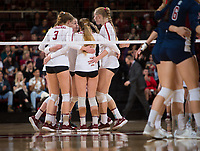 STANFORD, CA - December 1, 2018: Holly Campbell, Meghan McClure, Jenna Gray, Kathryn Plummer at Maples Pavilion. The Stanford Cardinal defeated Loyola Marymount 25-20, 25-15, 25-17 in the second round of the NCAA tournament.