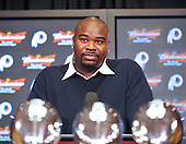 Ashburn, VA - February 27, 2009 -- Albert Haynesworth, a 6 foot, 6 inch, 320 pound defensive tackle formerly with the Tennessee Titans, meets reporters at Redskins Park in Ashburn, Virginia after signing a 100 million dollar contract with the Washington Redskins on Friday, February 27, 2009.  Since he came into the NFL in 2002, Haynesworth has posted 271 tackles (199 solo) and 24 quarterback sacks.  He was elected to the Pro Bowl following the 2007 and 2008 seasons..Credit: Ron Sachs / CNP