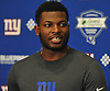 Lorenzo Carter speaks with the media during the second day of New York Giants Rookie Minicamp held at Quest Diagnostics Training Center in East Rutherford, NJ on Saturday, May 12, 2018.