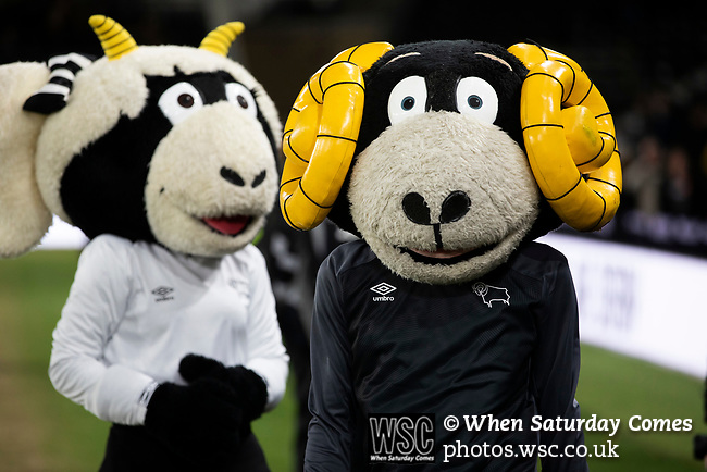 Home club mascots Rammie and Ewie waiting for the teams to come out before Derby County played Stoke City in an EFL Championship match at Pride Park Stadium. Opened in 1997, it is the 16th-largest football ground in England and the 20th-largest stadium in the United Kingdom. The fixture ended in a 0-0 draw watched by a crowd of 25,685.
