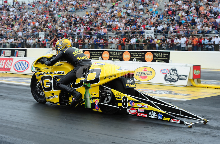 April 30, 2011; Baytown, TX, USA: NHRA pro stock motorcycle rider Karen Stoffer during the Spring Nationals at Royal Purple Raceway. Mandatory Credit: Mark J. Rebilas-
