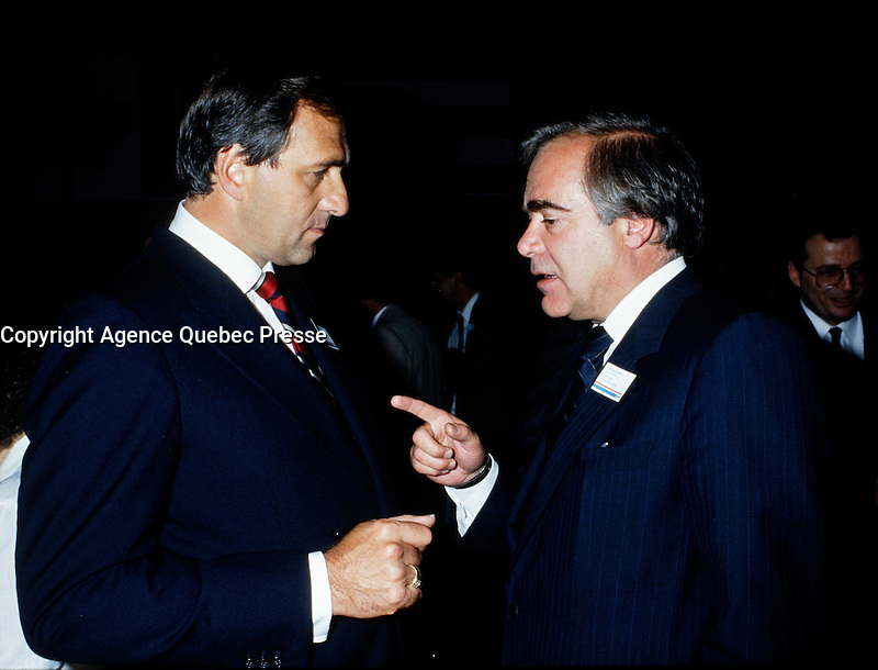 Montreal (Qc) CANADA - file photo circa 1986, Andre Bissonnette<br /> (L), Marcel Masse (R)
