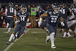 Nevada wide reviver Dominic Christian (14) follows the block of running back Toa Taua against New Mexico in the first half of an NCAA college football game in Reno, Nev., Saturday, Nov. 2, 2019. (AP Photo/Tom R. Smedes)
