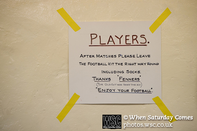 St Albans 0 Watford 5, 26/07/2014. Clarence Park, Pre Season Friendly. Pre Season friendly between St Albans City and Watford from Clarence Park Stadium. Sign in the home changing room. Watford won the game 5-0. Photo by Simon Gill.