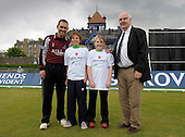 Launch of the Cricket Scotland Development Trust at Citylets Grange, Edinburgh - Somerset Sabres and Australian cricket star Justin Langer (left) joins young cricketers and Trust patron Terry Racionzer (right) to mark the Trust launch. For further information please contact Roddy Smith, Chief Executive Officer, Cricket Scotland on 07825172340 or refer to Press Release - This picture is free to publish in any connection to the Cricket Scotland Development Trust.