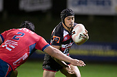 Kalione Hala takes on Andrew Makalio. Mitre 10 Cup rugby game between Counties Manukau Steelers and Tasman Mako, played at Navigation Homes Stadium Pukekohe on Friday September 6th 2019. Tasman won the game 36 - 0 after leading 24 - 0 at halftime.<br /> Photo by Richard Spranger.
