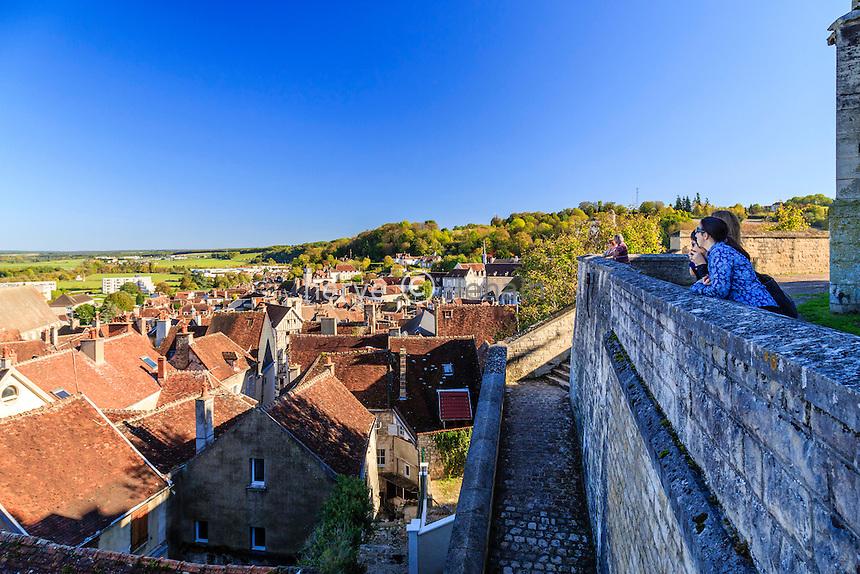 France, Yonne(89), Tonnerre, vue depuis l'esplanade de l'église Saint-Pierre sur les toits de la ville // France, Yonne, Tonnerre, view from the esplanade of the Saint Pierre Church on the roofs of the city