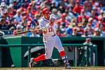 14 April 2018: Washington Nationals first baseman Ryan Zimmerman get a pinch hits single in the 7th inning against the Colorado Rockies at Nationals Park in Washington, DC. The Nationals rallied to defeat the Rockies 6-2 in the 3rd game of their 4-game series. Mandatory Credit: Ed Wolfstein Photo *** RAW (NEF) Image File Available ***