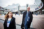 """BRUSSELS - BELGIUM - 08 October 2019 -- Student Sara Murto visiting the European Parliament and """"taking over"""" from MEP Eero Heinäluoma. Going for lunch -- PHOTO: Juha ROININEN / EUP-IMAGES"""