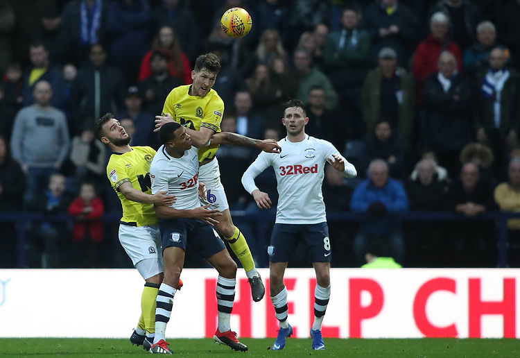 Blackburn Rovers' Richard Smallwood leaps highest<br /> <br /> Photographer Rachel Holborn/CameraSport<br /> <br /> The EFL Sky Bet Championship - Preston North End v Blackburn Rovers - Saturday 24th November 2018 - Deepdale Stadium - Preston<br /> <br /> World Copyright © 2018 CameraSport. All rights reserved. 43 Linden Ave. Countesthorpe. Leicester. England. LE8 5PG - Tel: +44 (0) 116 277 4147 - admin@camerasport.com - www.camerasport.com