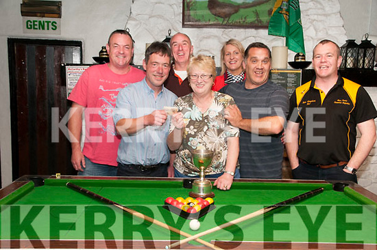 Winners:  The winnners of McCarthy's Bar, Finuge pool tournament the Kingdom Bar, Listowel being presented with their prizes by Mary McCarthy at the bar on Sunday night last. L-R : John Finnerty, Jihn Dore, Pa Carey, Mary McCarthy, Nollaigh McEnery, Pip O'Carroll & Anthony McElhinney.