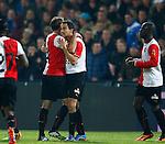 Nederland, Rotterdam, 30 oktober 2013<br /> KNVB Beker<br /> Seizoen 2013-2014<br /> Feyenoord-HSV Hoek<br /> Otman Bakkal (2e van r.) van Feyenoord viert zijn doelpunt, de 2-0, met Joris Mathijsen (2e van l.) van Feyenoord