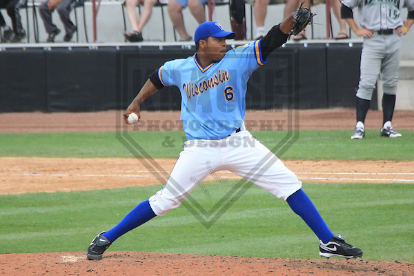 APPLETON - MAY 2010: Jeremy Jeffress (6) of the Wisconsin Timber Rattlers, Class-A affiliate of the Milwaukee Brewers, during a game on June 13, 2010 at Fox Cities Stadium in Appleton, Wisconsin. (Photo by Brad Krause)
