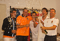 14-sept.-2013,Netherlands, Groningen,  Martini Plaza, Tennis, DavisCup Netherlands-Austria, Doubles, Dutch team celebrates, Ltr: Jesse Huta Galung, Thiemo de Bakker,Jean-julien Rojer, Robin Haase and Captain Jan Siemerink  <br /> Photo: Henk Koster