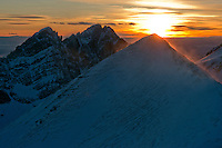 Mt. Humboldt at sunset, with Crestone Needle in back.  Looking northwest.  Feb 2013.  82633