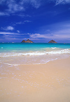 Lanikai beach with a view of the moku lua islands in kailua