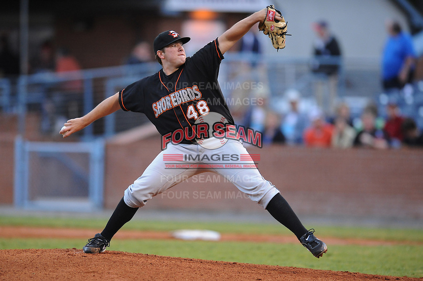 Matt Hobgood #48 Pitcher Delmarva Shorebirds (Orioles) May 1, 2010 Photo By Tony Farlow/Four Seam Images