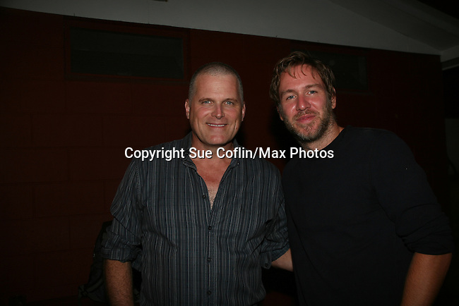 """Comedian Stephen Lynch poses with Guiding Light's Robert Newman - a Barn program alum in 1981 - joined in Seasons of Love with """"Something Was Missing"""" (Annie) and """"Meditation"""" (Shenandoah) at the Gala Benefit Concert on August 14, 2010 for the Barn Theatre School for Advanced Theatre Training in Augusta Michigan (Photos by Sue Coflin/Max Photos)"""