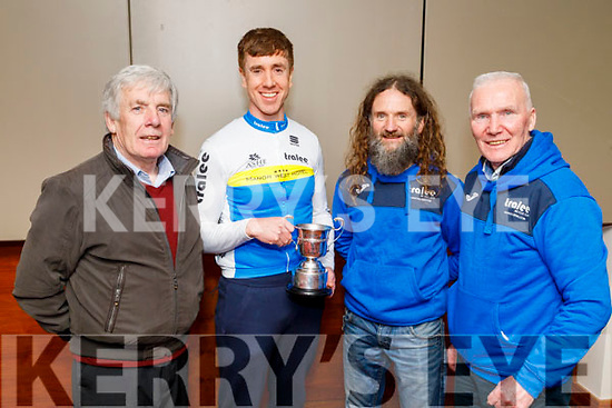 Cathal Moynihan (Manor West) took the A1 4th place and received the Billy Nolan Perp Cup at the Lacey Cup cycling on Sunday. L to r: Dan Curtin, Cathal Moynihan, Shane Courtney (Chairman of Tralee BC Club) and Matt Lacey