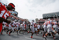 OSU Players take the field at the Ohio State Spring Football Game Saturday, April 18 2015.  (Dispatch Photo by Courtney Hergesheimer)