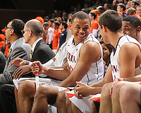 Virginia guard Justin Anderson (23) on the bench during the game against Clemson Thursday in Charlottesville, VA.
