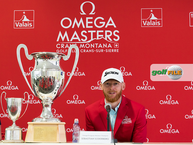 Sebastian Soderberg (SWE) and the trophy during winner's press conference at the Omega European Masters, Golf Club Crans-sur-Sierre, Crans-Montana, Valais, Switzerland. 01/09/19.<br /> Picture Stefano DiMaria / Golffile.ie<br /> <br /> All photo usage must carry mandatory copyright credit (© Golffile | Stefano DiMaria)