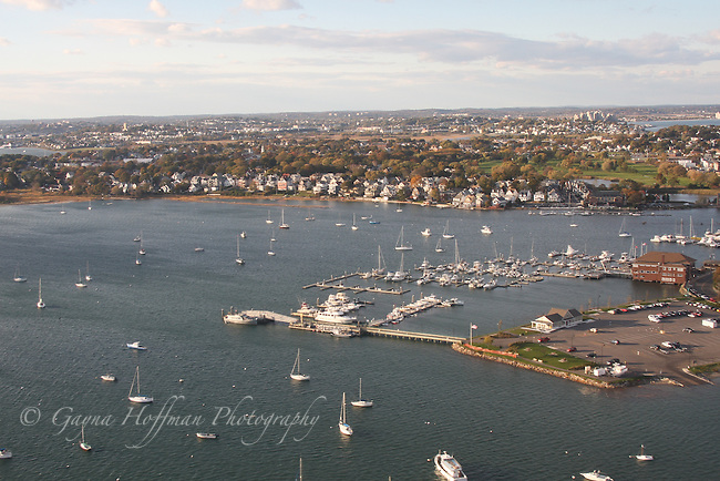 Low aerial view of Winthrop, MA Yacht club.